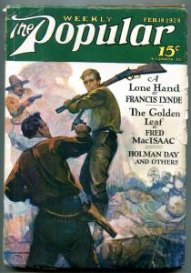 Popular Pulp Magazine February 18 1928- Lone Hand- Golden Leaf VG+
