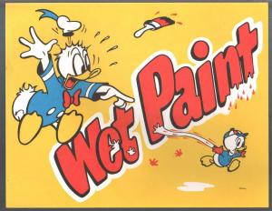 Wet Paint Poster-Donald Duck-Disney World 1970's-unused-unique item-VF