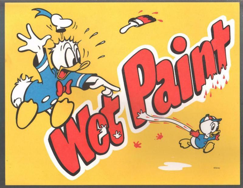 Wet Paint Poster-Donald Duck-Disney World 1970's-unused-unique item-VF