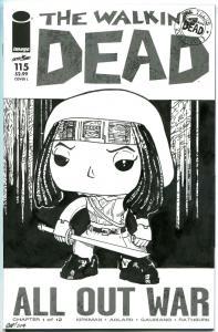 WALKING DEAD #115, NM, Sketched Michonne, COA, Parkin, Zombies, Robert Kirkman