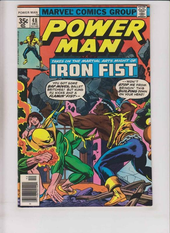 Power Man #48 FN- luke cage meets iron fist for the first time - john byrne 1977