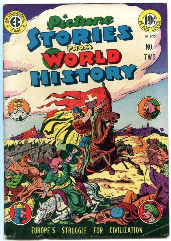 Picture Stories From World History #2 1947- EC comic- crusades- Mongols VG/F