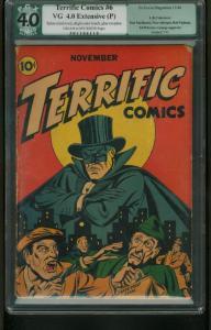 TERRIFIC COMICS #6 1944-LB COLE COVER ART-PGX GRADED 4.0 RESTORED-RARE 4.0