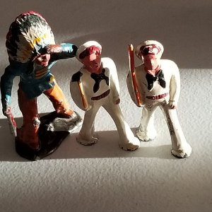 Vintage Indian Chief and Navy Sailors Manoil Barclay Lead Toys Lot - 3 Pieces