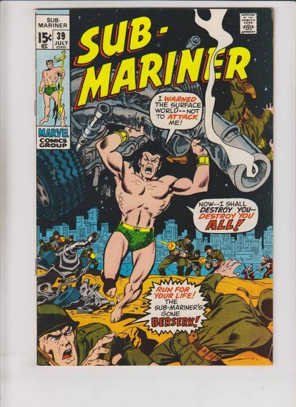 Prince Namor, the Sub-Mariner #39 FN july 1971 - bronze age marvel comics