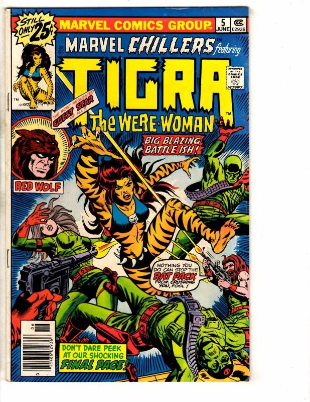 Lot Of 3 Marvel Chillers Feat. Tigra The Were-Woman Comic Books # 5 6 7 J268