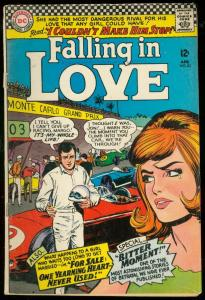 FALLING IN LOVE #82 1966-DC COMIC-F1 RACING-MONTE CARLO VG