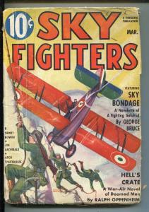 SKY FIGHTERS 3/1937-AIR WAR PULP-THRILLS-WWI-BI-PLANE-GEORGE BRUCE-vg