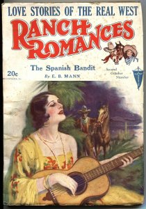 RANCH ROMANCES 2nd  OCT 1930-CLAYTON PUBS-WESTERN PULP FICTION-RARE