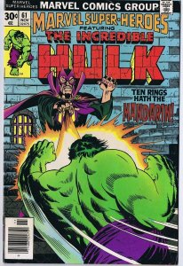 Marvel Super Heroes #61 ORIGINAL Vintage 1977 Comic Book Hulk Mandarin 10 Rings