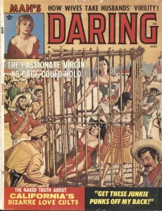 MAN'S DARING JUNE 1964-TERROR-DRUG USE-BONDAGE-LOVE CULT-Cheesecake- pulp art cr