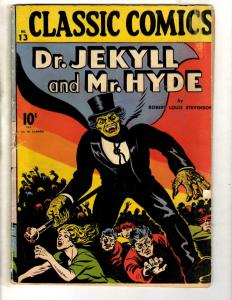 Classic Comics # 13 VG- Gilberton Comic Book Dr. Jekyll & Mr. Hyde 1st Print JL1