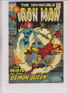 Iron Man [1971 Marvel] #42 FN/VF wail of the demon-queen - george tuska art