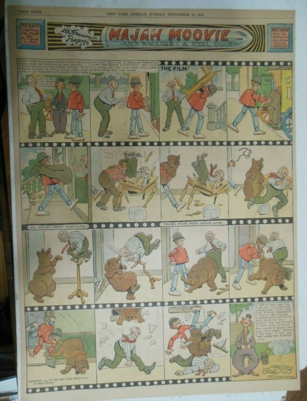 Percy The Robot Sunday Page by HC Greening from 9/12/1915 Full Page Size Rare !