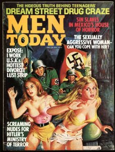 Men Today May 1972-Nazi soldiers menace YOUNG GIRLS on cover-WILD!