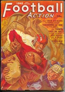 Football Action 10/1942-Fiction House-violent Norman Saunders cover-WWII pulp-VG