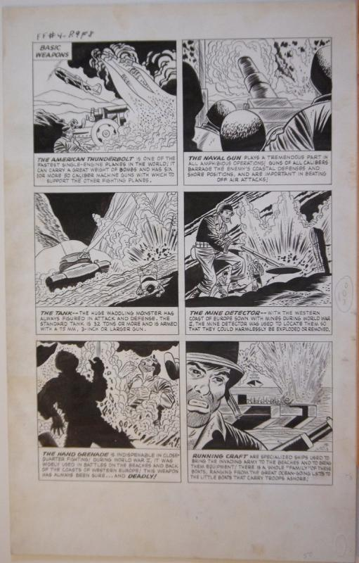 PETE MORISI original art, FIGHTING FRONTS #4, War Weapons pg 9, 14x22, 1952