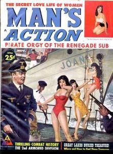 MAN'S ACTION 1960 NOV-GOOD GIRL ART/BASIL GOGOS-WAR FN