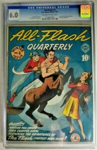 All-Flash #3 ~ 1941 DC~ CGC 6.0 (FN) All Star Comics #8 & Sensation Comics #1 Ad