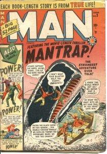 MAN COMICS #3--1950--GIANT WHALE ATTACK--VIOLENCE--TERROR-PRE CODE--RARE MARVEL