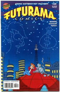 FUTURAMA #34, NM-, Bongo, Fry, Bender, Leela, 2000, Prof Farnsworth, Zoidberg