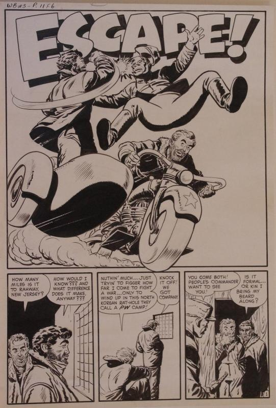 JACK SPARLING original art, WAR BATTLES #3, pgs 11-14, 1952, 4 pgs, Motorcycle