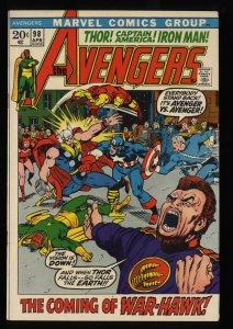 Avengers #98 VF/NM 9.0 Marvel Comics Thor Captain America