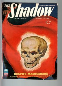 SHADOW JAN 15 1943-GEORGE ROZEN SKULL COVER-FN minus-RARE PULP FN-