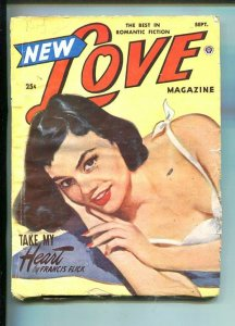 NEW LOVE-SEPT 1951-ROMANTIC PULP FICTION- PIN-UP GIRL COVER-FLICK-vg