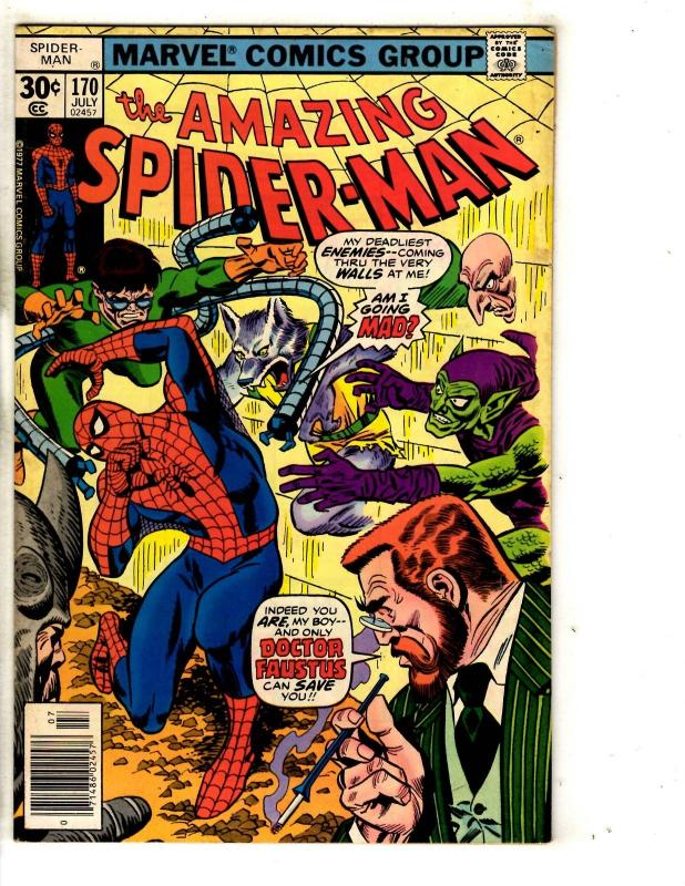 Amazing Spider-Man # 170 FN Marvel Comic Book Green Goblin Vulture Mary J JG9
