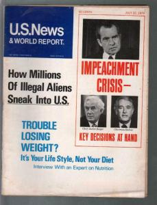 U.S. News & World Report 7/20/1974-Richard Nixon impeachment-Watergate-G/VG