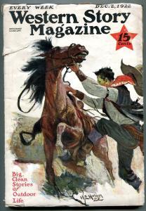 Western Story Magazine Pulp December 2 1922- Homan cover VG