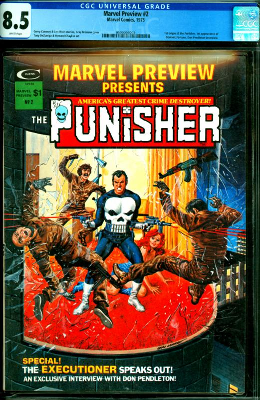 Marvel Preview #2 CGC Graded 8.5 1st Origin of The Punisher