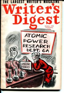 Writers Digest-10/1945-scientist reads Amazing Stories pulp-historic cover-VG