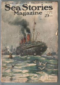 Sea Stories 1/1925-Richard V Schulter cover-rare adventures title-VG