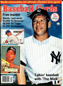 Baseball Cards 12/1988-Krause-Mickey Mantle-Ron Guidry-VG