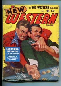 NEW WESTERN-MAY 1951-VIOLENT PULP FICTION-GAMBLING DERRINGER COVER-vg