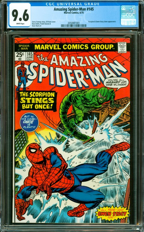 Amazing Spider-Man #145 CGC Graded 9.6 Scorpion & Gwen Stacy clone appearance.