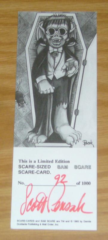Limited Edition Scare-Sized SAM SCARE Scare-Card - signed/numbered (92/1000)