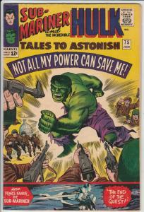 Tales to Astonish #75 (Jan-65) FN/VF Mid-High-Grade Incredible Hulk, Namor th...