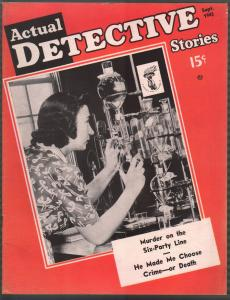 Actual Detective 9/1943-crime-mystery-horror-pix-pulp thrills-WWII-crime lab-FN