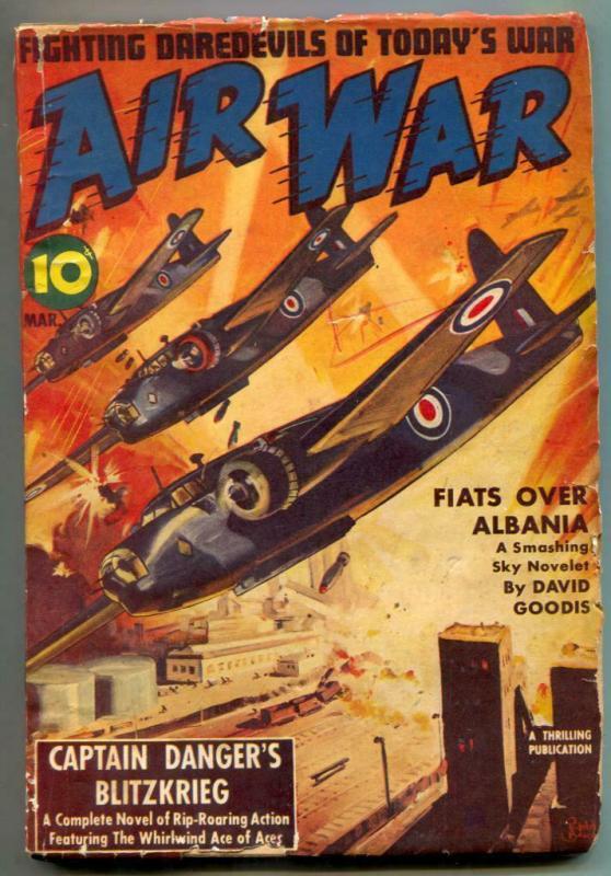 Air War Pulp March 1942- Captain Danger Blitzkrieg VG