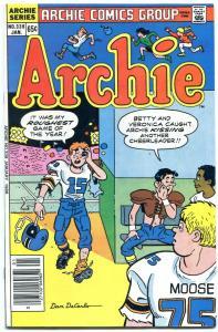 Archie #339 1986- Dan DeCarlo football cover- Betty & Veronica VF