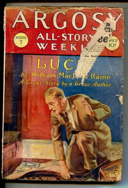 Argosy All-Story Weekly 8/7/1926-The Rider of Spook Hollow Charles Frances ...