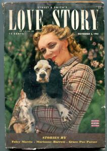 Love Story Pulp November 2 1943- cocker spaniel cover- Foley Martin G