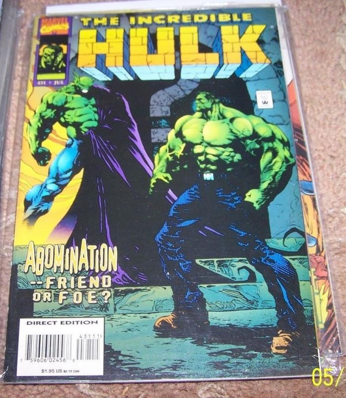incredible hulk comic # 431  abomination   marvel
