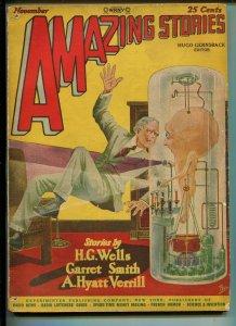 Amazing Stories 11/1927-Gernsback-Paul-Wells-A Hyatt Verrill-pulp sci-fi-VG