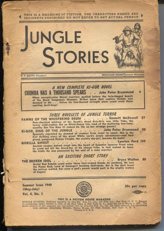 Jungle Stories 5/1948-Fiction House- Ki-gor novel-pulp jungle fun-P