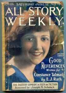 All-Story Weekly Pulp June 12 1920- Constance Talmadge- Joseph Schenck P