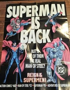 Man Cave: 1993 SUPERMAN IS BACK Poster Store Advertising Poster      (MC-1 #S)